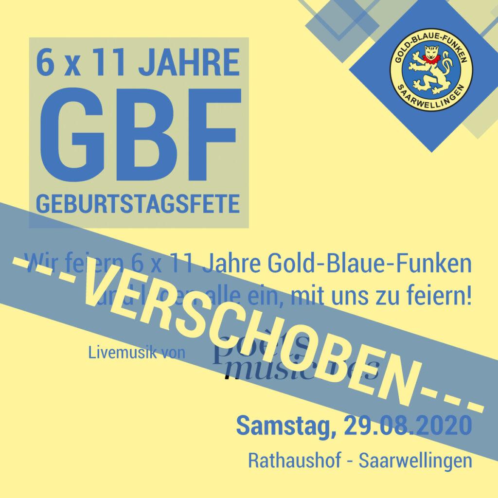 Sommerfest der Gold-Blauen-Funken 2020 verschoben